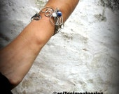 wire wrapped armband and wristband //two in one// stainless steel & sodalite