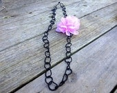 Black Beaded Necklace with Flower Clip