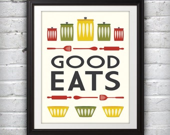 Jars Print, Bowl Print, Kitchen Art, Kitchen Print, Mid Century Print, Mid Century Art, Mid Century Poster, Good Eats - 8x10