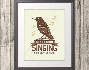 Blackbird Print, Blackbird Poster, Brown, Fall, Blackbird Art, Multiple Sizes