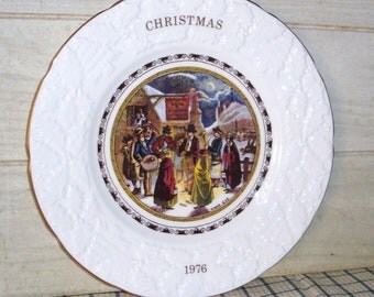 Coalport Bone China Xmas Eve Plate - 1976 - Collectibles - In Box - Pratt Print - Christmas - Carolers - England - 24K - Home Decor