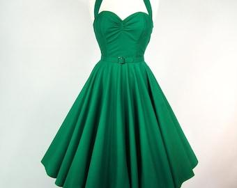 Made To Measure Green Full Circle Skirt Dress - Detachable Straps & Belt