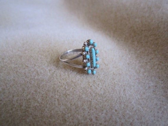Zuni Turquoise Petit Point Ring