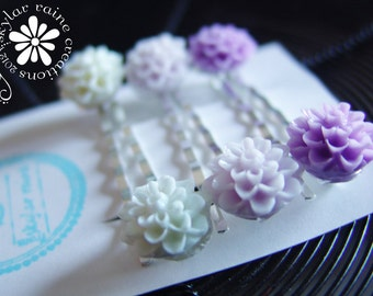 Bobby Pins - Ombre Purple - White, lilac &  purple Mum flower Resin Bobby Pins Set - Boutique Style - Hair Bobby Pins