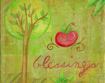 Blessings 6x6 Original Collage Painting