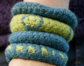 Hand crocheted and felted bangles