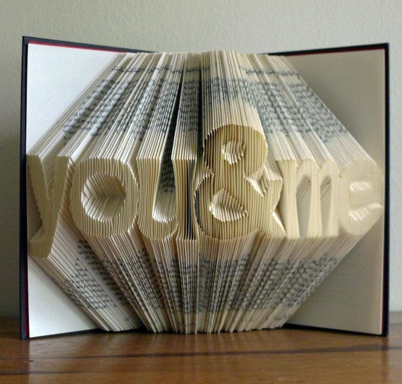 Folded book art letters