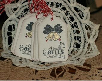 Christmas Gift Tags - Set of 12 Holiday gift tags with twine - Christmas Bells