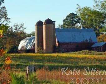SALE Fall Barn in Autumn, Richmond Virginia Landscape Photo Art, Framed Photography Option