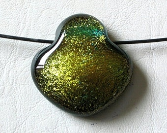 Fused Dichroic Glass Pendant Bead Gold and Green