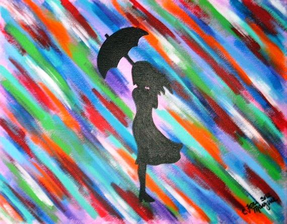 articles similaires peinture color e fille silhouette de jeune fille debout sous la pluie 11. Black Bedroom Furniture Sets. Home Design Ideas
