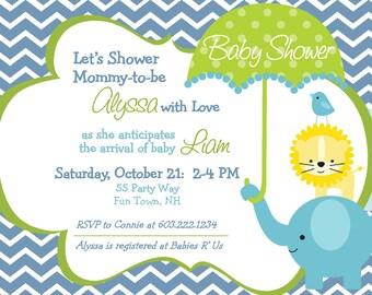 Elephant Baby Shower Invitation Chevron Bird Lion Umbrella - Baby Shower Invite Boy Girl - Blue Gray Pink Gray - Baby Shower Invite Chevron