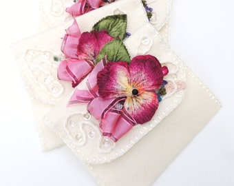 Wool hand made gift stitched mixed media pouch with vintage flower, trims, sequins  and beads