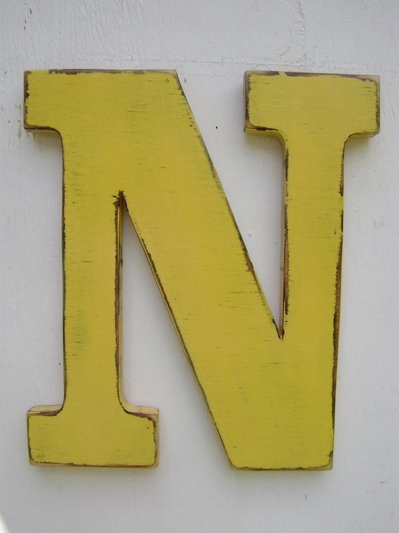 Baby nursery wood letters shabby chic rustic decor
