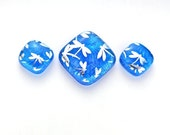 Fused Dichroic Glass Cabochon Set in Sapphire Blue with Silver Dragonflies