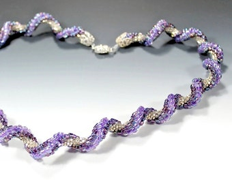 Crocheted Beaded Spiral Necklace with Purple and Silver Seed Beads, Sterling Silver Clasp