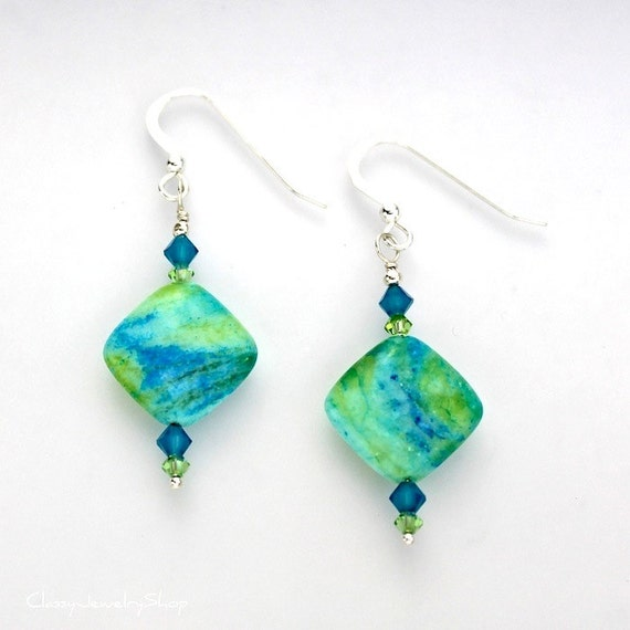 Lime Green and Turquoise Blue Stone and Crystal Dangle Earrings