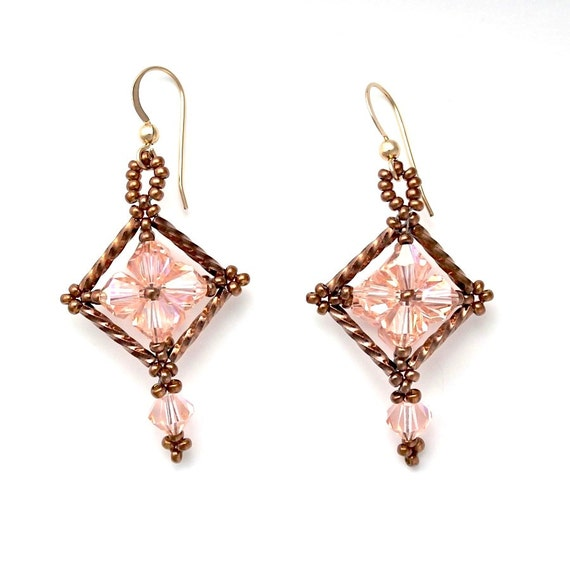Orange Swarovski Crystal and Copper Bronze Seed Bead and Bugle Bead Dangle Earrings