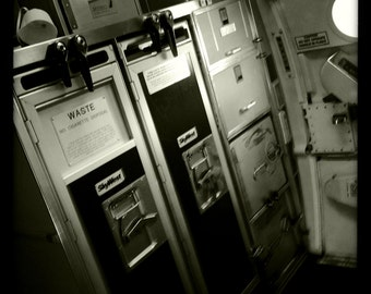 Airplane Galley and Exit on Regional Jet 6, Airline Decor, Aviation, 10x10 Photograph, Aircraft Symbol, Airplane Interior, Beverage Carts