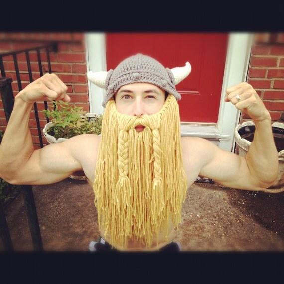 Crochet Viking hat with Beard (Adult)