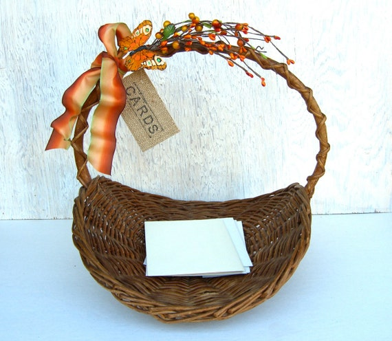 Wedding Card Holder : Fall Wedding Decoration , Rustic Basket