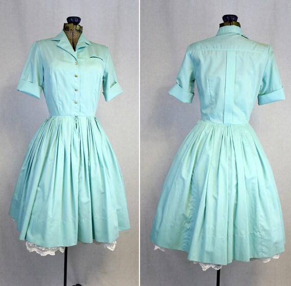 1950s Aqua Blue Dress Shirtwaist Full Skirt 50s/60s Button Front Shirt Day Cotton Robins Egg