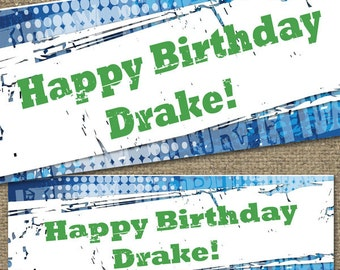 PRINTED BANNER 2x6 Birthday Personalized, outdoor /indoor poly-vinyl w/ grommets, quick & easy Birthday Party decoration - Customizable
