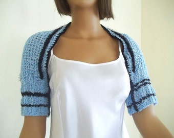 Knitting bolero, shrug in pale blue, black striped
