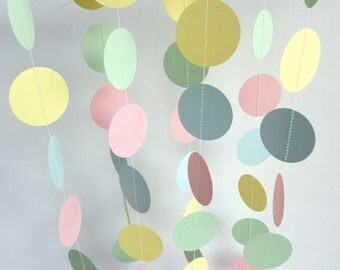 Pastel Garland, EASTER, Baby Garland, New Baby, Baby Shower Decor, Blue - Pink - Yellow - Green, 10 ft. long
