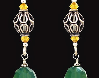 Gorgeous green Swarovski crystal, yellow and sterling silver earrings.
