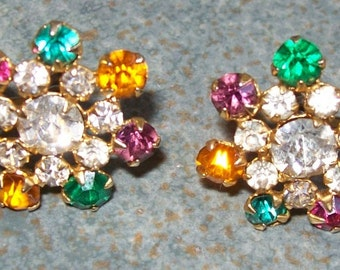 Vintage Earrings Colored Rhinestones Sterling Screw Back