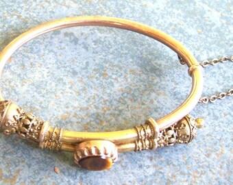 Vintage Bracelet Victorian Etruscan Revival Gold Filled Hinged Bypass