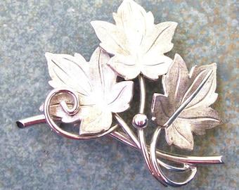 Vintage Sterling Brooch Three Leaves V D