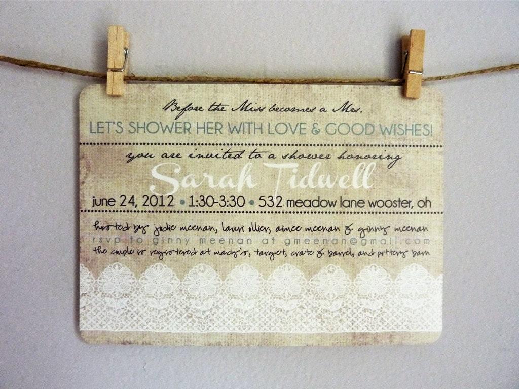 Wedding Shower Invitation: Bridal Shower Printable Invitations Linen & Lace
