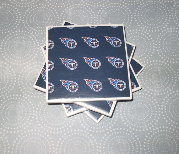 Tennessee Titans NFL Navy Blue and White Felt-Backed Ceramic Tile Coasters Set of four, SALE