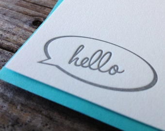 Speech Bubble Hello Letterpress Note Card Set of 10