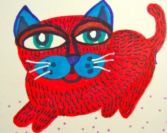 Whimsical Cat Print, Red And Blue, Funny Dog Print, Children's Room Decor, Art For Kids, Cat Art, Red Cat Dog by Paula DiLeo