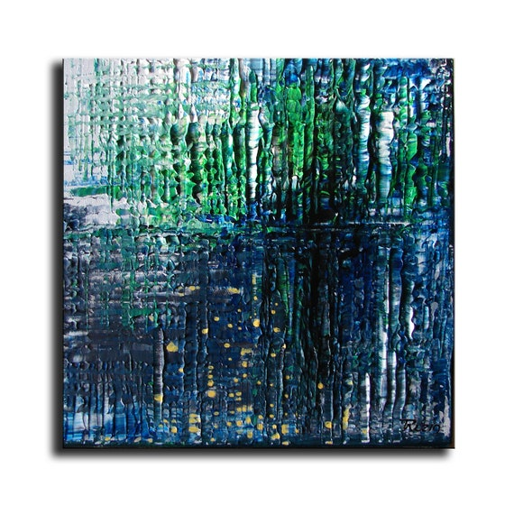FREE SHIPPING 10x10 ORIGINAL Abstract Painting texture art artist Tatjana Ruzin  Contemporary Abstract, - Sea Depths blue and green