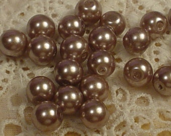 20 Glass Frosted Lavender Pearls 8mm