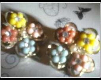 Pastel Rhinestone Earrings Clip On Vintage