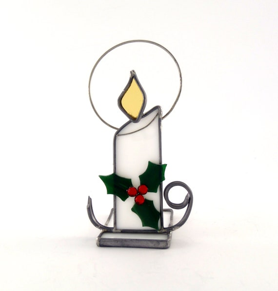 Christmas Candle Holder Holly and Berries Choice of Color