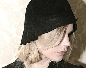 Black felt Hat  1920 style Made to order