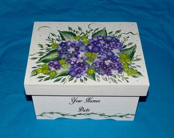 Decorative Personalized Wood Wedding Keepsake Memory Box Hand Painted Wedding Hydrangea Card Box Custom Bridal Shower Gift Anniversary Gift