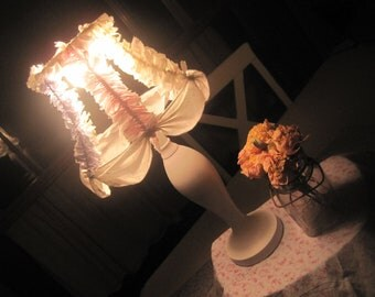 SALE - OmG - Tattered Bulb-Hugger Lampshade AND Base in Various Rachel Ashwell Fabrics - Great Gift