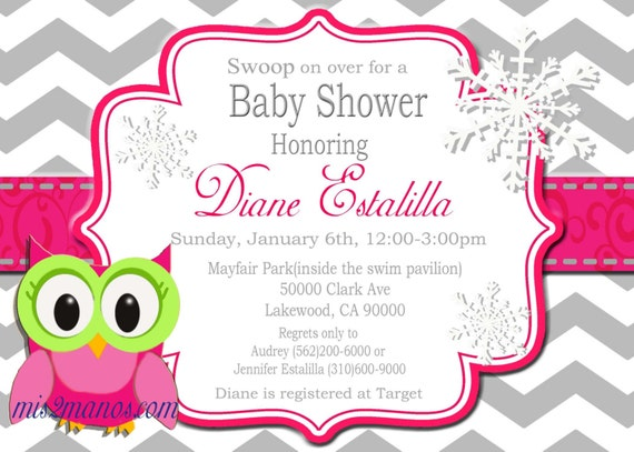 Baby Shower Winter Owl Invitations Printable  Pink Owl custom order Party DIY Download and Print