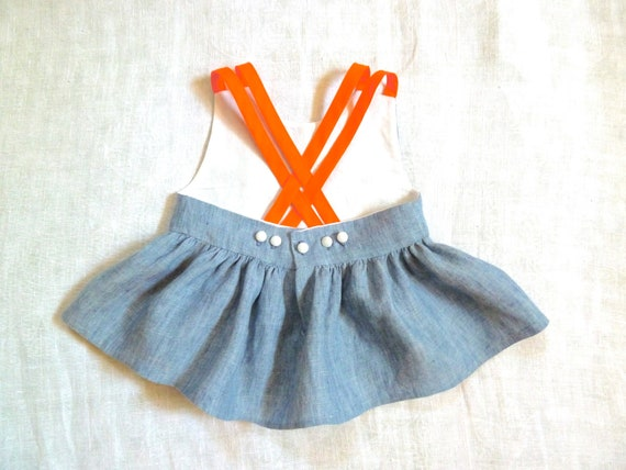 Chambray Linen Swing Top with Peter Pan Collar & Neon Straps