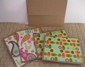 Set of Four/4 Blank Cards, Multi-Colored, Paisley, Floral, Birds, Hearts
