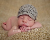 Baby Newsboy Hat in 'oatmeal' - newborn.  Made to order.