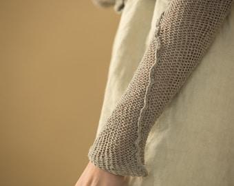 cardigan handmade  knitted  Women- grey women jacket,eco design, cotton