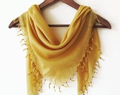 mustard yellow square fringed bandana-Turban Headband-yemeni, turkish cotton summer accessory